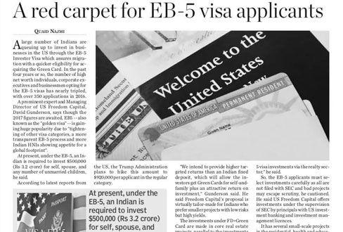 Red carpet for EB-5 Visa applicants