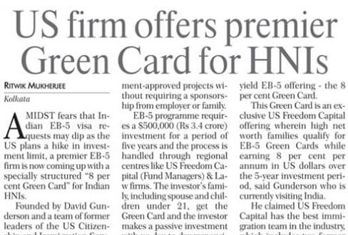 Us Firm Offers premium Green Card for HNIs